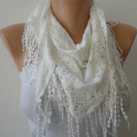 White Scarf  -  Headband Necklace Cowl with Lace Edge - Creamy white/76000922