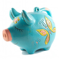 Beautiful Sleepy Pig Piggy Bank Hippie Kitsch Butterflies and Flowers Aqua / Vintage 60s 70s