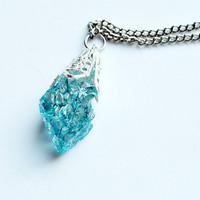 FRESH AIR - Quartz Crystal Necklace // Blue Turquoise Natural Metaphysical Spiritual Healing Properties