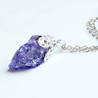 MYSTICAL REALM - Quartz Crystal Necklace // Purple Natural Metaphysical Spiritual Healing Properties