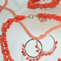 Carnelian 2 Strand Bead Necklace, Bracelet, Earrings, Sterling Silver