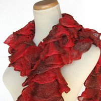 Hand Knit Ruffle Scarf - Red and Brown Women Accessories Scarves Handmade Arlenesboutique