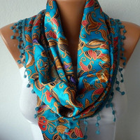 Women Scarf - Headband Necklace Cowl with Lace - Multicolor/75861722