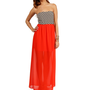 Pre-Order: Tomato Chevron Maxi Dress