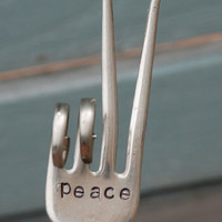 PEACE hand stamped Peace Sign fork Garden Art by VintageGardenArt