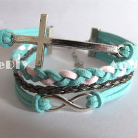 Mint bracelet - Infinity Bracelets - cross bracelets, Infinity charms, bracelet for girlfriend, birthday gifts, braid bracelets