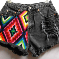 Vintage Guess High Waist  Denim Shorts Aztec Print ---Waist  27    inches