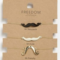 Topshop &#x27;Novelty Mustache&#x27; Bracelets (Set of 3) | Nordstrom