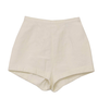 70&#x27;s Catalina Shorts: 70s -Catalina- Womens white high waist polyester and cotton short shorts with back button/zip closure and darted front and rear.