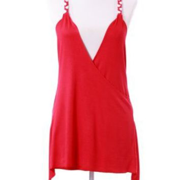 Amazon.com: Sexy Strap Peasant Blouse Cross Back V-Neck Tank Tops SC11006B: Clothing