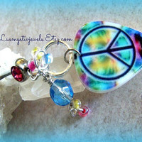 Peace Sign Bellyring Piercing Direct Checkout Belly Button Ready to Ship Beach Hippie Bohemian