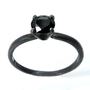 Black Spinel Gemstone Ring in Sterling Silver