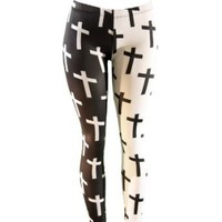 Amazon.com: Half Black Half White Cross Print Stretch Leggings: Clothing