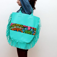 JUSTE/ Large floral fringe bag