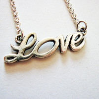 Silver Love Necklace, hand written love word by RobertaValle