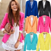 Assorted Colors Lapel Blazer for Women