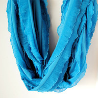 Flirty Ruffle Infinity Scarf in Brilliant BlueReady by SeauxComfy