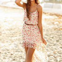 Floral Strappy High Low Dress