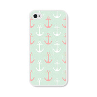 Anchor Apple iPhone 5 Case - Plastic iPhone 5 Case - Nautical iPhone Case Skin - Mint Green Peach Pink White Cell Phone