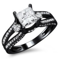 1.50ct Natural SI-1 F Princess Cut Diamond Engagement Ring 14k Black Gold with a .70ct Center Diamond and .80ct of Surrounding Diamonds