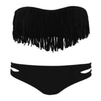 Black 2 PCS Fringe Bikini Swimsuit For Women