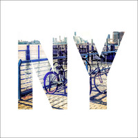 New Your City Skyline and Bicylces in NY Letters- 8x8 Retro Square Metallic Art Photograph Print - Made by artstudio54 on ETSY