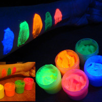 Fluorescent UV black light glow body face paint set