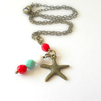 Childrens Jewelry - Beach Girl Starfish Necklace in Antique Brass