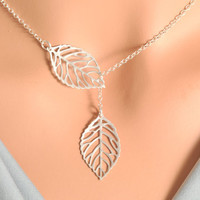 Silver Leaf Lariat  sterling silver double leaf by MegusAttic