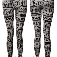 Full Length Leggings Ladies Black White Aztec Tribal Print