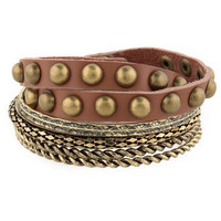 Gold Bangle Set - Studded Leather Bracelet - $10.00