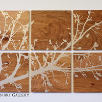 The Wood Grain Branches in Bloom Print by CallaghanArtGallery