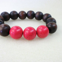 Coral with Natural Dark Wood