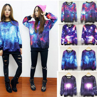 Chic Women&#x27;s Galaxy Space Starry Print long Sleeve Top Round T Shirt Jumper Top