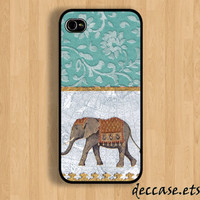 iPhone case IPHONE 5 CASE lace ELEPHANT teal iPhone 4 case iPhone 4S caseHard Plastic Case Rubber Case
