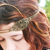 Chain Headpiece Headband  Hair Piece Bohemian Hipster Boho Hippie Bronze Floral Long Centerpiece Bridal Statement Jewelry