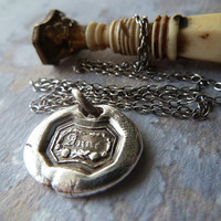 Anne of Green Gables Wax Seal Pendant Necklace. Fine Silver Mini Pendant. Wax Seal Jewelry