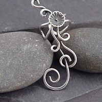 Sterling Flower EAR CUFF   Silver Ear Cuff by SunnySkiesStudio