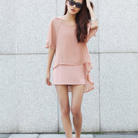 Double Layers Silk Chiffon Sundress in Pink for Summer Women - NC372