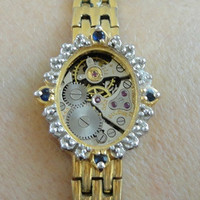 Gold Real Diamonds and Sapphires Bulova Watch by CulturalDiversion