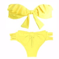 Brazilian Bikini with Ruffle Bandeau by CaipirinhaBikini on Etsy