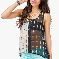 A&#x27;GACI Contrast Cross Print Button Front Tank - TOPS
