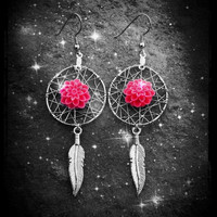 Dream Catcher Earrings - Pink Delia