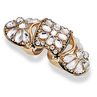 Bar III Ring, Gold-Tone Crystal Knuckle Ring - Fashion Jewelry - Jewelry & Watches - Macy's