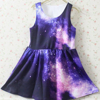 Purple Pink Galaxy Pattern Dress Chic [56]