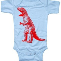 Baby Boy Onesuit T Rex Dinosaur Bodysuit blue by happyfamily