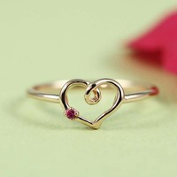 Pink Gold Ruby Heart Ring