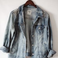 Studded acid wash jacket