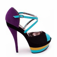 colorblock platform $31.90 in BLACKMULTI - Heels | GoJane.com