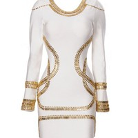 Gold Beaded Tribal Bodycon Dress
